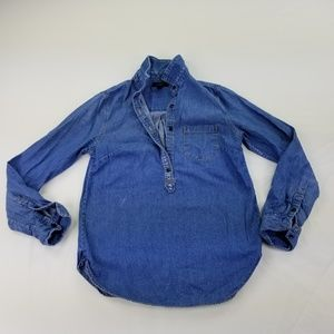 J Crew 2 Blouse Chambray Popover 3/4 Button 326
